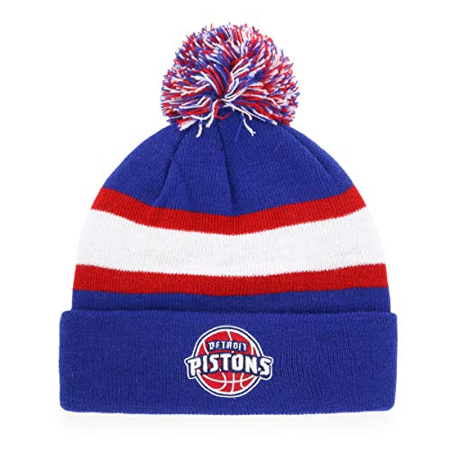 (NBA Youth Detroit Pistons Rush Down OTS Bravo Cuff Knit Cap with Pom, Royal,)