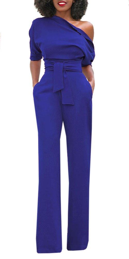 Hestenve Women One Shoulder Half Sleeve Drawstring Boot Cut Pants Jumpsuit and Rompers