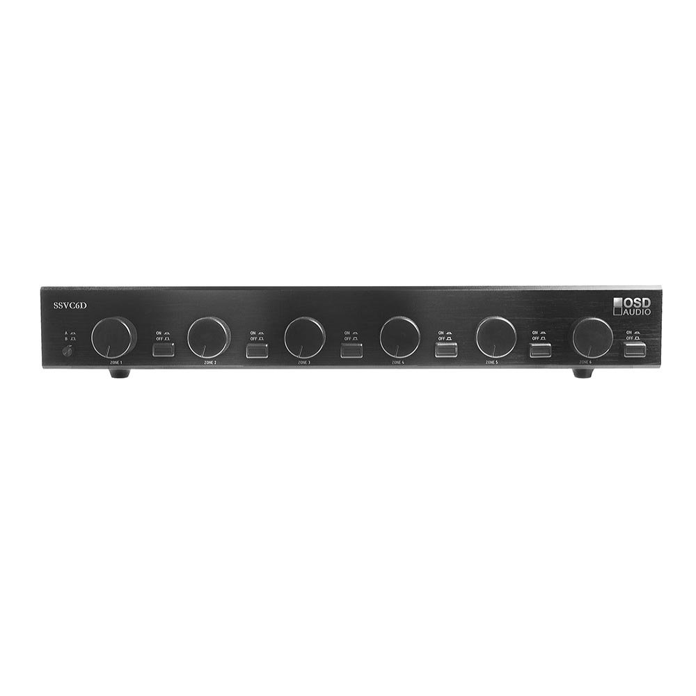 SSVC6 Dual 2x Audio Source 6-Zone 300W Speaker Selector with Independent Zone Volume Control - Black Brushed Aluminum Finish - OSD Audio