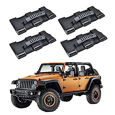 AnnBay Roll Bar Grab Handles, Heavy Duty Wrangler Jeep Grip Handle Set, Easy-to-Fit Triple Banded for Security 1955-2020 Models, Safe Adventure Experience Car Accessory (Pack of 4): Automotive