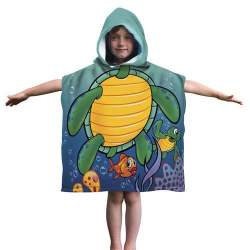Kids Turtle Cotton Hooded Poncho Bath/Beach