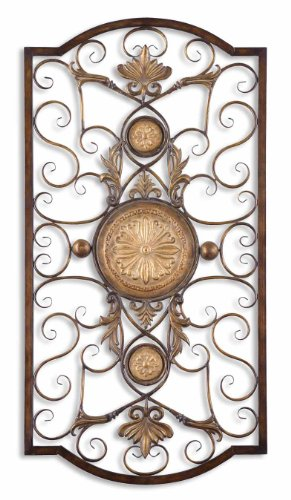 Uttermost 13476 Distressed Chestnut Brown With Antiqued Gold Micayla Large Metal Wall Art