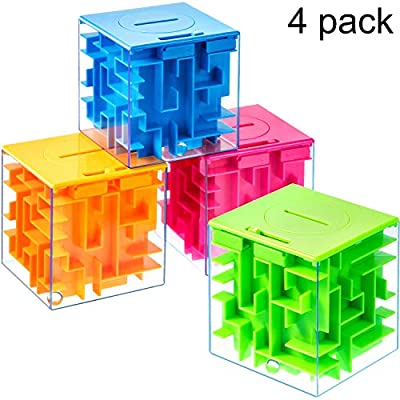 4 Pieces Money Holder Maze Puzzle Gift Box, A Fun Unique Way and Brain Teasers to People You Loved, Great for Birthday, Valentine's, Green/Blue/Orange/Red, 7.7 cm: Toys & Games