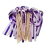 bulk party streamers - Hangnuo 30 Pack Wedding Wands Ribbon Streamers with Bell Fairy Stick Party Favor for Baby Shower Holiday Celebration, Purple