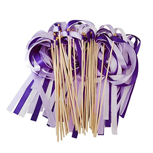 Hangnuo 30 Pack Wedding Wands Ribbon Streamers with Bell Fairy Stick Party Favor for Baby Shower Holiday Celebration, (Wedding Stick)