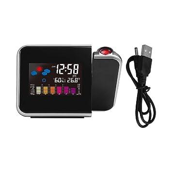 DoMoment Reloj Despertador con proyección, Clima Digital, Despertador LCD Pantalla a Color con luz de Fondo LED Probador de Humedad: Amazon.es: Hogar