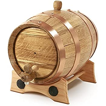 2 Liter Whiskey Oak Barrel for Aging – Golden Oak Barrel with Copper Hoops – Aging and Recipes Digital Guide included