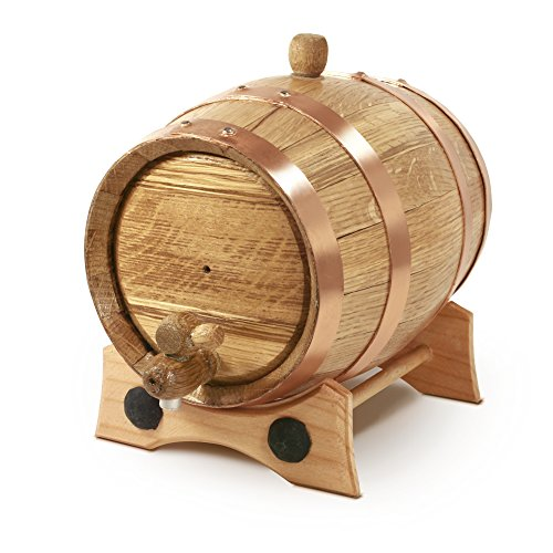 2 Liter Whiskey Oak Barrel for Aging – Golden Oak Barrel with Copper Hoops – Aging and Recipes Digital Guide included - Aged Ale Wine