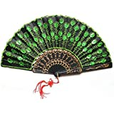 Pixnor Beautiful Peacock Pattern Style Women Lady's Silk Hand Fan Folding Fan with Green Sequins