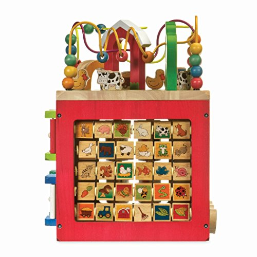 51P fNh4haL - Battat – Wooden Activity Cube – Discover Farm Animals Activity Center for Kids 1 year +