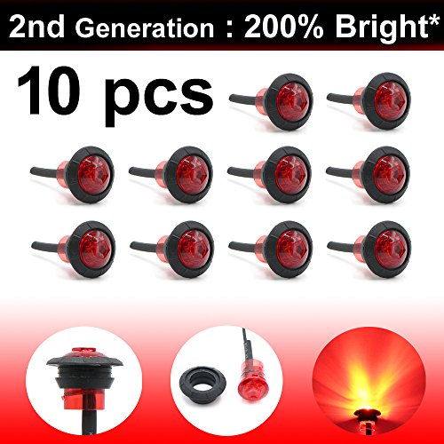 10 Pcs LedVillage 2nd Generation 3/4 Inch Mount RED LED Clearance Bullet Marker lights, Side Led Marker for Truck Boat SUV ATV Bike Trailer Marine