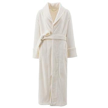 Mujeres Bata De Algodón Blanca Vestido De Baño Completo para Damas Bata De Baño SPA Hotel Ropa De Dormir Camisón Camisón con Chal Y Cinturón,White-M: ...