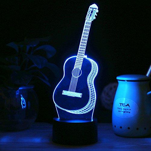 SAVFY 3D Guitar LED Illusion Sculpture Lamp Bedroom Decorative Night Multi 7 Color Change USB Touch Button LED Desk Table Light Lamp