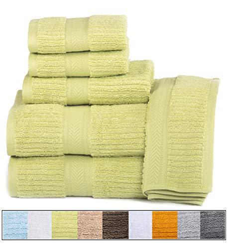 ELEGANCE SPA CASA LINO Quick Dry Towels 100% Cotton Zero Twist Towel Set 6-Piece, Soft Absorbent, spa Towels 2 Bath Towels, 2 Hand Towels, 2 Face Towels Set (Green)