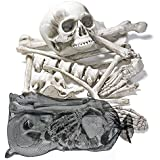 THE TWIDDLERS Bag of 25 Spooky Bones & Skull - Perfect Skeleton for Halloween Celebrations - Ideal Graveyard Decor, Body / Hands Party Props & Decoration - Comes with Mesh Bag