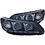 2014 accord halo headlights - AnzoUSA 121492 Black/Clear/Amber Bar Style Projector Headlight for Honda Accord