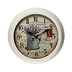 Adeco CK0023 14~15 Off White Antique-Look Dial Decorative Vintage Retro Traditional Wall Hanging Round Carte Postale Lilac Detail Round Circle Iron Clock, Arab Numbers, Battery Quartz, Non Ticking Silent Hands, Home Office Decor, Parchment-Color,