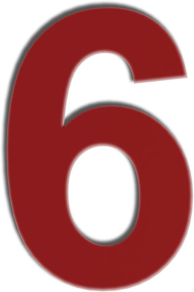 QT Modern House Number - 6 Inch RED - Stainless Steel (Number 6 Six / 9 Nine), Floating Appearance, Easy to Install and Made of Solid 304 Stainless Steel