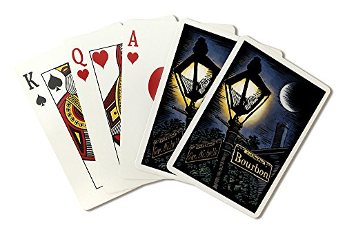 New Orleans, Louisiana - Bourbon Street Lamppost - Scratchboard (Playing Card Deck - 52 Card Poker Size with (Orleans Post Lantern Set)