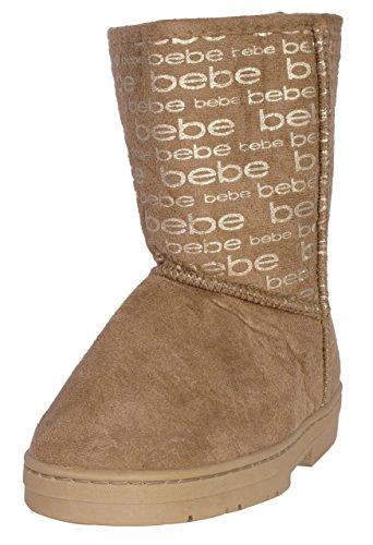 Bebe Designer (Bebe Toddler Girls Winter Boots with Metallic Bebe Logo, Cognac/Gold, Size 5')
