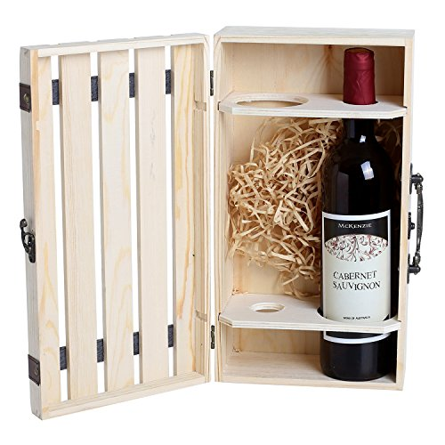 Handmade Vintage Natural Pine Wood Crate 2 Wine Bottle Travel Storage Box Carrying Display Case (Gift Crates Boxes)
