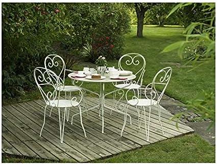 Aucune - Mesa de jardín de hierro forjado (diseño con agujero central para sombrilla, 95 cm), color blanco: Amazon.es: Hogar