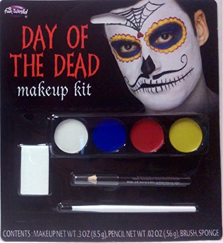 Male Makeup Costume - Day of the Dead Makeup Kit - (Mustache Male)