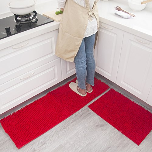 Wolala Home 2 pcs Sets Strong Absorbent Non-slip Kitchen Rug and Carpet Super Soft Chenille Shaggy Latex Backing Solid Home Decorator Floor Mats (16''x24''+16''x47'', Red)