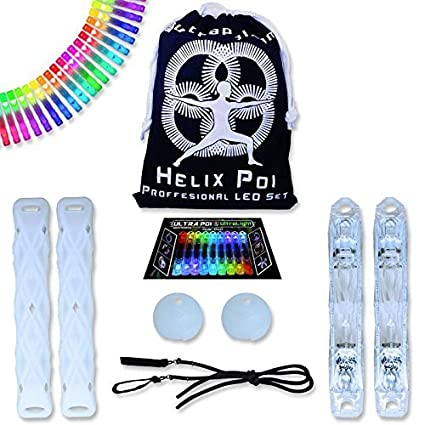UltraPoi Helix Poi Set LED Poi for Raves and Concerts LED Glow Sick