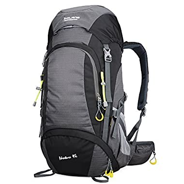 Bolang 45L Internal Frame Pack Hiking Daypack Outdoor Waterproof Travel Backpacks 8298(Black)