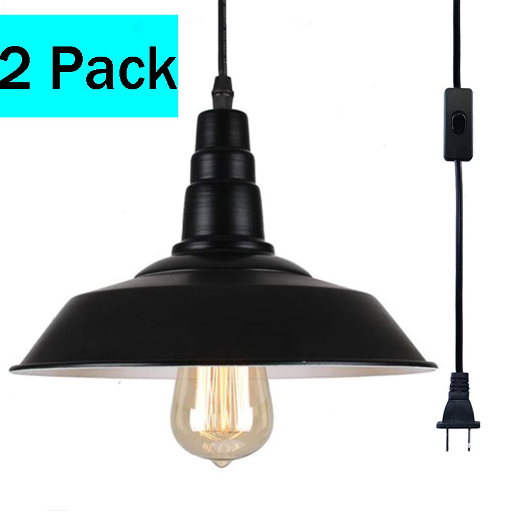 FadimiKoo Plug in Pendant Light E26 E27 Black Metal Industrial Hanging Pendant Light Vintage Swag Light with 13.12ft Adjustable Cord On/Off Switch 2 Pack