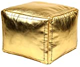 Casablanca Market Moroccan Square Faux Metallic Cotton Stuffed Leather Pouf, Gold