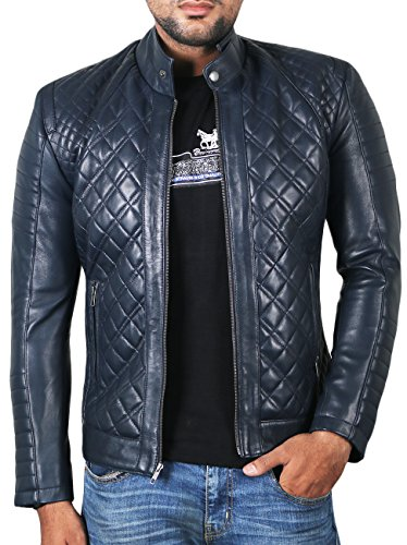 Laverapelle Men's Genuine Lambskin Leather Jacket (Navy Blue, Extra Large, Polyester Lining) - 1501491