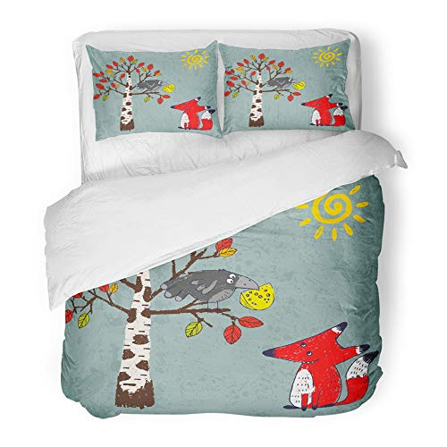 Emvency Decor Duvet Cover Set Full/Queen Size Comic for Aesop's Fable The Fox and Crow Crayon Drawn Cartoon of Crafty Red 3 Piece Brushed Microfiber Fabric Print Bedding Set -