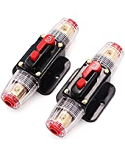 60A Audio Inline Circuit Breaker Reset Fuse PowMr Reset Fuse Holder 60 amp with Manual Reset for 12V-24V DC Car Audio, Stereo Switch and Solar Inverter System (2 Pack)