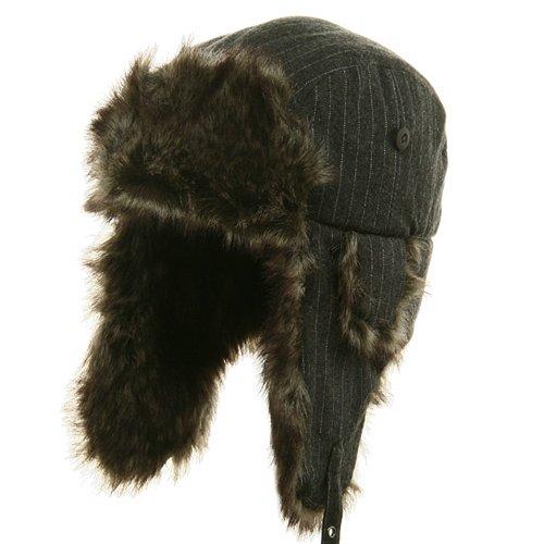 E4hats Wool Cap (Big Size Wool Pinstripe Trooper Hat - Grey OSFM)