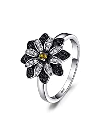 JewelryPalace Flower Round Genuine Taupe Smoky Quartz Black Spinel Cocktail Ring 925 Sterling Silver