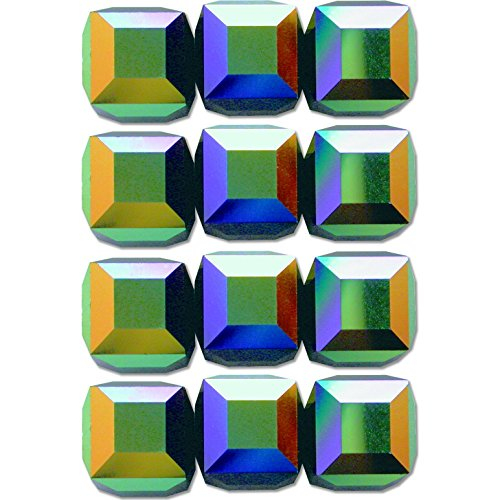 - 12 Jet AB Square Swarovski Crystal Cube Beads 5601 4mm