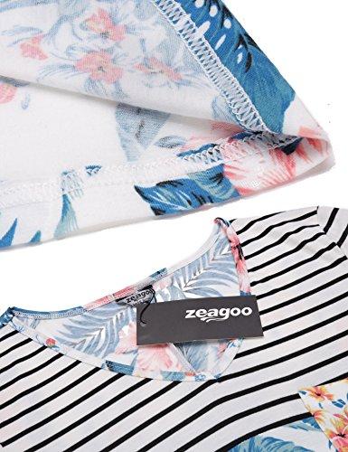 Tunic Long Striped Women's Dress pat2 Sleeve Swing T Shirt Zeagoo Floral Striped Tunic Black Dress FwYcUz