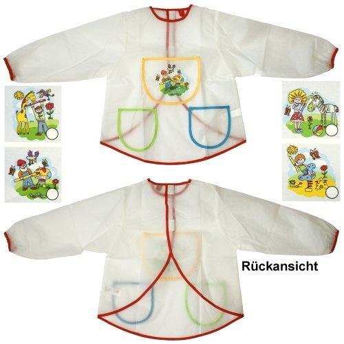 1 Stück Malschürze Bastelschürze für Kinder abwaschbar, Kinderschürze, Schürze m. Ärmel, 2312