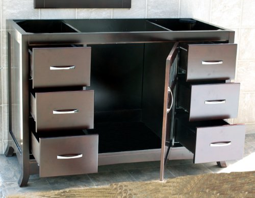 Black Vanity Cabinet Vessel Sink: Solid Wood 48″ Bathroom Vanity Cabinet Black Granite Stone