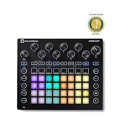 Novation Circuit Drum Machine, Pad Controller Grid-Based Groove Box with 1 Year Free Extended (880 Drum Machine)