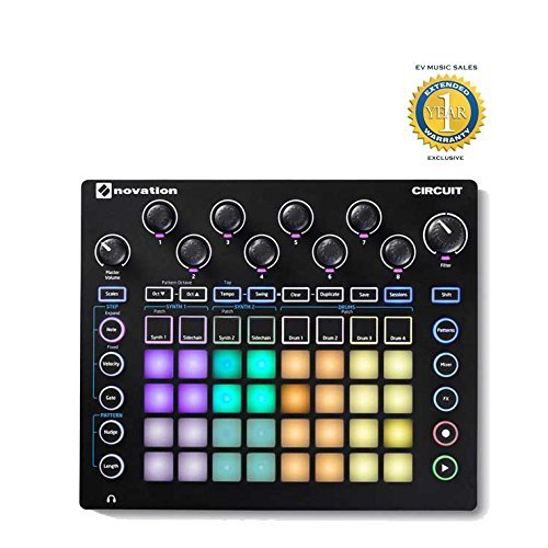 Novation Circuit Drum Machine, Pad Controller Grid-Based Groove Box with 1 Year Free Extended Warranty from Novation