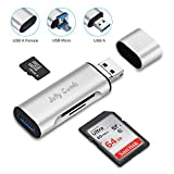 SD and Micro SD Card Reader - Jelly Comb PC, OTG Tablets, Android Smartphones USB 3.0 Card Reader, with USB-A and Micro-USB Adapter, USB 3.0 Hub Offered, Silver