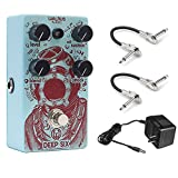 Walrus AUDIO Deep Six Compressor Pedal with (2) Hosa 1/4 Right-Angle to 1/4 Right Angle Coupler and 9V AC Power Adapter