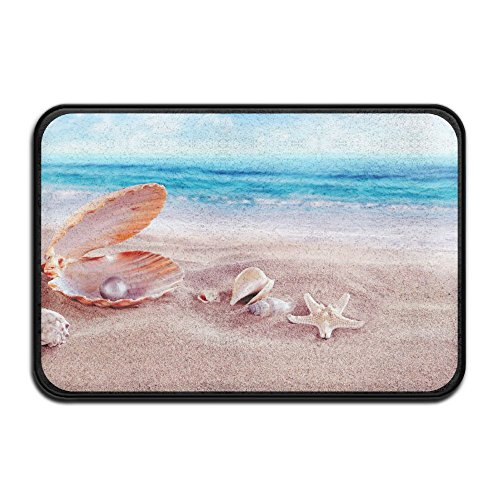 Beach Collection,Blue Sky Tropical Seashell Conch Starfish Beach Ocean Bath Mat - 1 Piece Memory Foam Shower Spa Rug Bathroom Kitchen Floor Carpet Home Decor With Non Slip Backing 24in x 16in by PopKindom Bath Mat