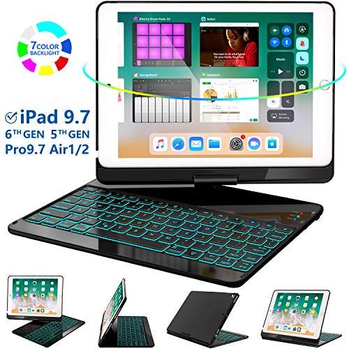 iPad Keyboard Case 9.7 for iPad 2018 (6th Gen) - 2017(5th Gen) - iPad Pro 9.7 - Air 2 & 1, 360 Rotate 7 Color Backlit Wireless/BT iPad Case with Keyboard, Auto Sleep Wake, 9.7 inch, Black (Ipad Cover For Wireless Keyboard)