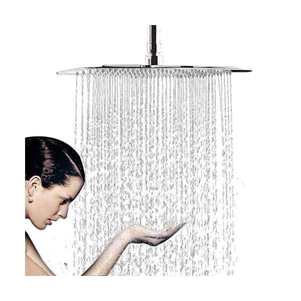 WYJP - Soffione doccia a pioggia, con ugelli anticalcare lucidi, effetto specchio, in acciaio inox 304 1 spesavip