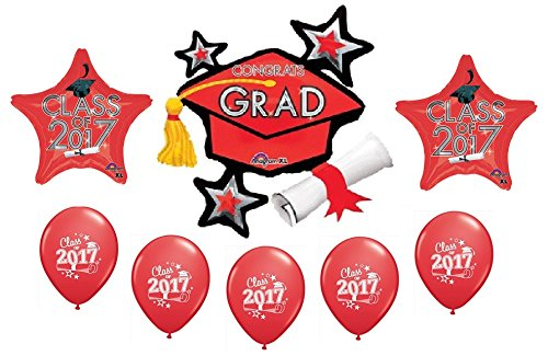 2017 RED Graduation GRAD Cap Hat Diploma 8 Piece Mylar & Latex Party Balloons Set