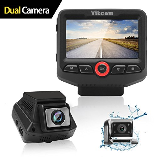 """Vikcam Dual Dash Cam, Car Camera Recorder 1080P Full with 2.45"""" IPS Screen and Sony Senor, 170 Wide Angle Lens Car DVR, G-sensor, Supreme Night Vision with Front and Rear Camera for Cars"""